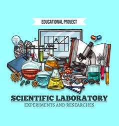 Sketch poster for scientific research vector