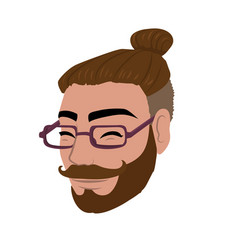 smiling hipster head vector image