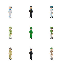 Soldier icons set isometric style vector