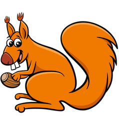 Squirrel cartoon animal character with acorn vector
