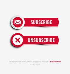subscribe and unsubscribe buttons vector image