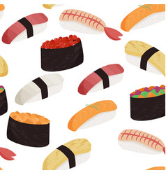 Sushi pattern japanese dishes seamless pattern vector