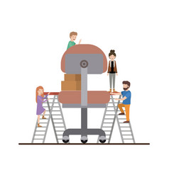 Teamwork mini people doing office chair vector