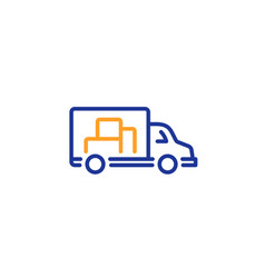 truck transport line icon transportation vehicle vector image
