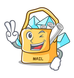 Two finger the bag with shape mail cartoon vector