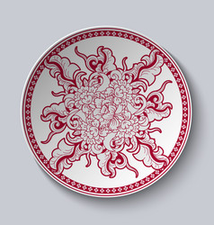 Unusual red and white floral pattern applied to vector
