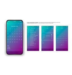 User interface design mobile calendar app vector