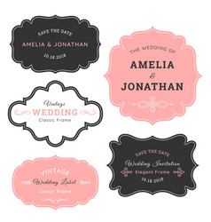 vintage retro elegant wedding emblem badges vector image