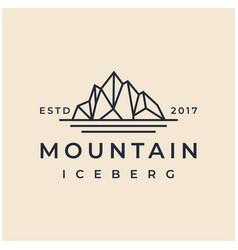 vintage retro hipster iceberg mountain peak logo vector image