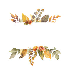 watercolor autumn banner with leaves vector image
