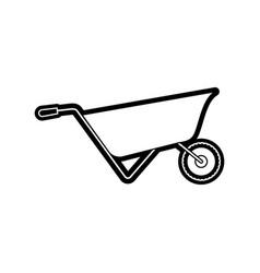 wheelbarrow flat icon black silhouette vector image