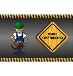 Wood worker cartoon under construction sign vector image