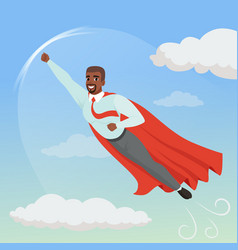 cartoon afro-american man with superhero cloak vector image vector image