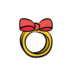 Cute bow ring vector image vector image