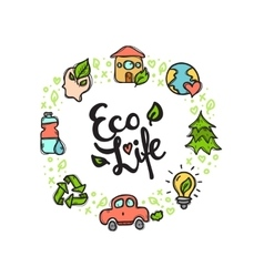 Eco Life doodle style circle frame with vector image