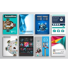 Set of flyer design infographics brochure designs vector