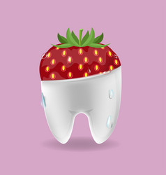 strawberry tooth mixed dental symbol vector image vector image