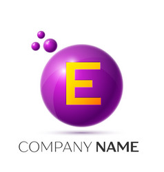 E letter splash purple dots and circle bubble vector