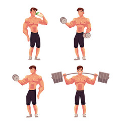 man male bodybuilder weightlifter working out vector image vector image