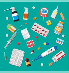 medicine pills capsules and healthcare devices vector image vector image