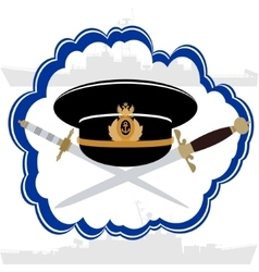 Officers cap Russian Navy officer and daggers vector image