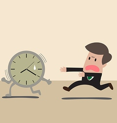 Businessman chasing a time vector image