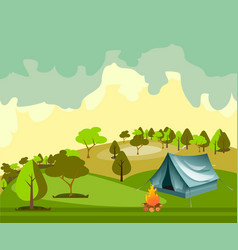 camping in the forest vector image vector image
