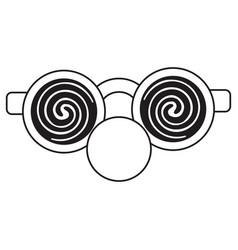 clown glasses and red nose thin line vector image