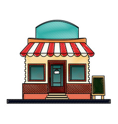 drawing store market business shop building vector image vector image