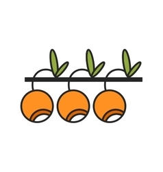 Flat colored linear icon Berry and fruit object vector image