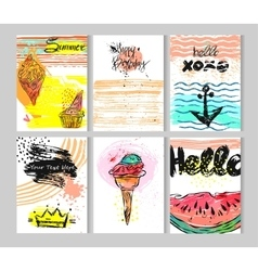 Hand drawn summer collection cards set vector image