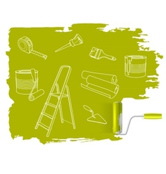 Home repair concept sketched drawing with paint vector image vector image