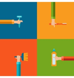 human hands using cleaning products flat icons vector image