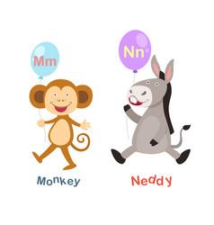 isolated alphabet letter m-monkeyn-neddy vector image