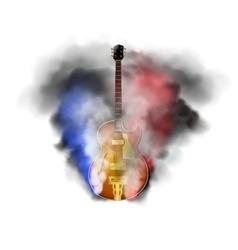 jazz guitar in smoke vector image vector image