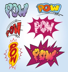 Set comic book explosion vector image vector image