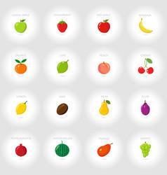 set of cartoon icons fresh fruits abstract vector image