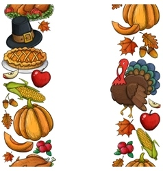 Vertical seamless borders with Thanksgiving icons vector image vector image