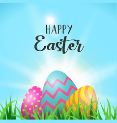 easter eggs greeting card in spring garden grass vector image vector image