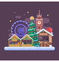 Europe christmas fair background vector