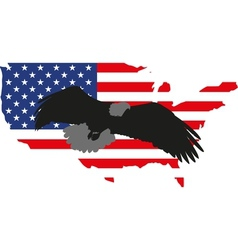 silhouette eagle and America vector image vector image