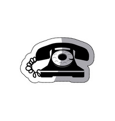 sticker black silhouette old phone design with vector image vector image