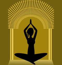 yoga training woman silhouette in golden gate vector image
