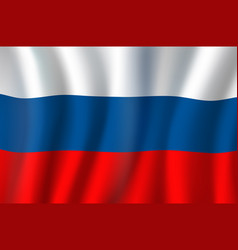 3d realistic wavy russian national flag vector image