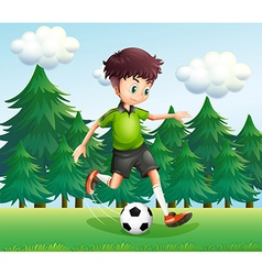 A boy kicking a soccer ball near the pine trees vector image