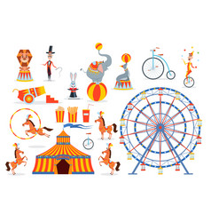 a large set of circus characters and objects vector image