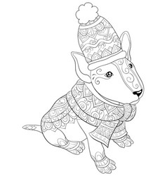 Adult coloring bookpage a cute dog wearing a vector