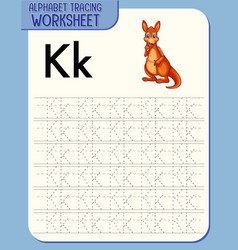 alphabet tracing worksheet with letter k and k vector image
