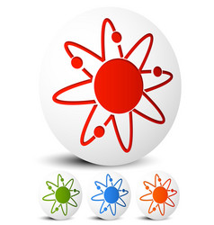 Atom nucleus icon atom with orbiting electrons vector