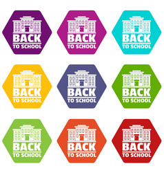 back to school icons set 9 vector image